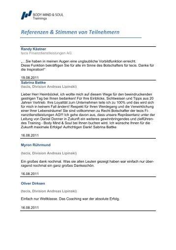 Referenzen & Stimmen von Teilnehmern - BODY MIND & SOUL ...