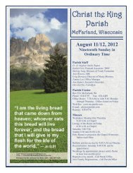 August 11/12, 2012 Nineteenth Sunday in Ordinary Time