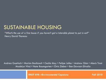SUSTAINABLE HOUSING - UNC Institute for the Environment