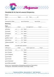 Checkliste für Ihr Fest mit unserem Partyservice - Partyservice Pfiffikus