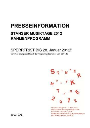 Presse Programm RP - Stanser Musiktage