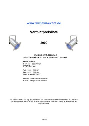 Preisliste Equipmentverleih - wilhelm event