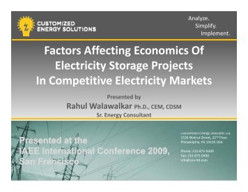 Factors Affecting Economics Of Electricity Storage Projects In ...