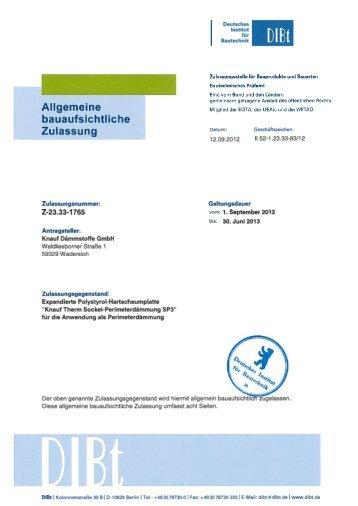 Zulassung SP3 Z-23.33-1765 Perimeterdämmung (PDF / 227