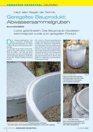 Geregeltes Bauprodukt: Abwassersammelgruben - WSE