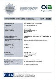 Zulassung ETA-12/0063 WT-T - SFS intec