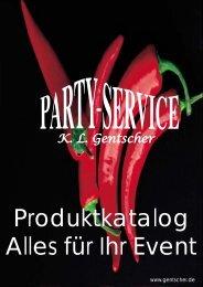 Neuer Katalog Alles für Ihr Event - Party Service GENTSCHER