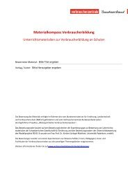 Bewertungsraster Materialkompass Verbraucherbildung