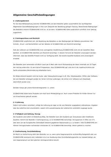 Allgemeine Geschäftsbedingungen - Scubadiving