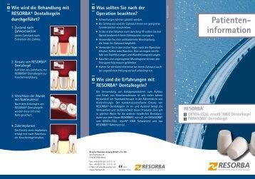 Patienteninformation Dentalkegel - Die Dentalbox - Resorba