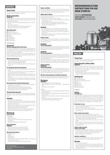 bedienungsanleitung instructions for use mode d'emploi - Esbit