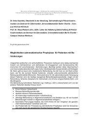 Möglichkeiten zahnmedizinischer Prophylaxe für Patienten mit Be ...