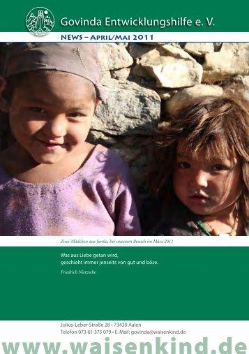 Govinda Entwicklungshilfe e.V. Newsletter - April 2011