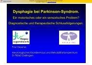 Dysphagie bei Parkinson-Syndrom. - Dysphagie - Netzwerk - Südwest