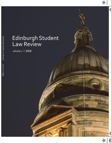 Edinburgh Student Law Review - 2009 Volume 1, Issue