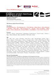 Press information #4 about the 12th edition of - Summer Spirit 2010