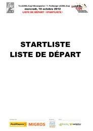 STARTLISTE LISTE DE DÉPART