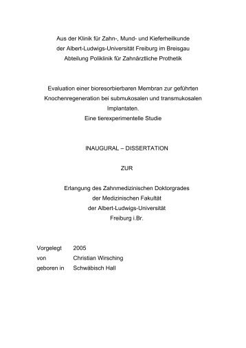 Aus der Klinik für Zahn-, Mund - FreiDok - Albert-Ludwigs-Universität ...