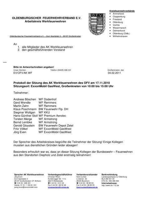 OLDENBURGISCHER FEUERWEHRVERBAND E.V. Arbeitskreis ...