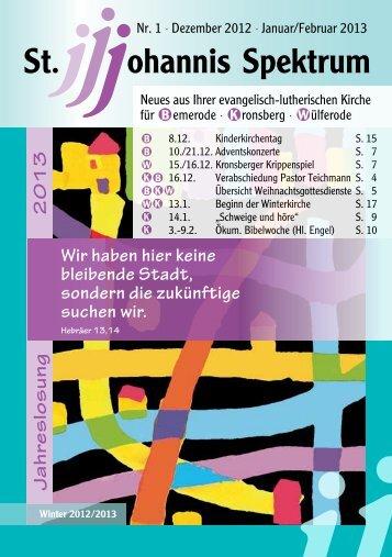 Heft Dez. 2012 - Feb. 2013 - St. Johannis Bemerode