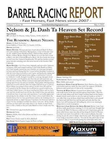 Nelson & JL Dash Ta Heaven Set Record - Barrel Racing Report