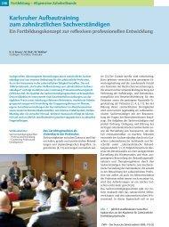 Karlsruher Aufbautraining zum zahnärztlichen Sachverständigen