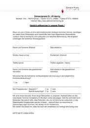 Anmeldebogen - Zahnarzt-Praxis Dr. Ulf Hannig, Kandel