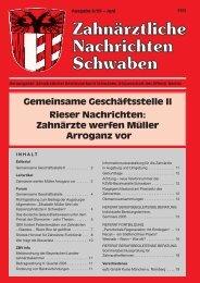Gemeinsame Geschäftsstelle II Rieser Nachrichten: Zahnärzte ...