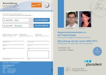 Kurse Pluradent_2012_zweiTermine.indd - Praxis für Oralchirurgie ...