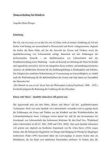 Sinnesschulung bei Kindern - KOBRA - Universität Kassel