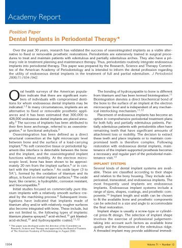 Dental Implants in Periodontal Therapy