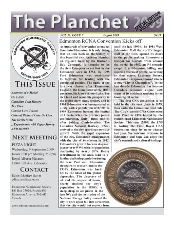 The Planchet Page 2 August 2009 - Edmonton Numismatic Society