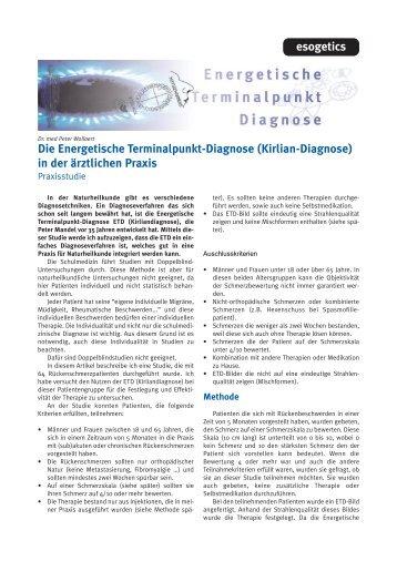 Die Energetische Terminalpunkt-Diagnose (Kirlian ... - Esogetics