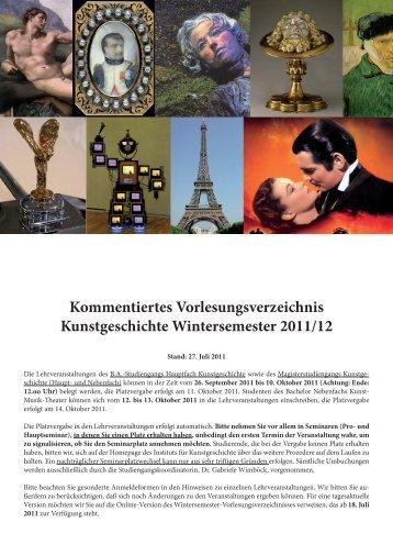 Kommentiertes Vorlesungsverzeichnis Kunstgeschichte ...