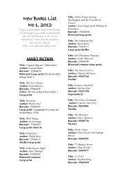New Book List No. 1, 2012 - Banana Shire Council