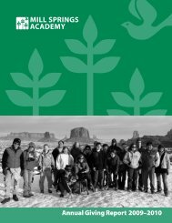 2009-2010 Annual Report - Mill Springs Academy
