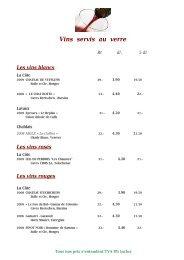 carte des vins - LA PINTE VAUDOISE