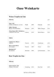 Weisse Tropfen im Glas - Restaurant Oase