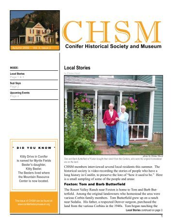Conifer Historical Society and Museum Local Stories