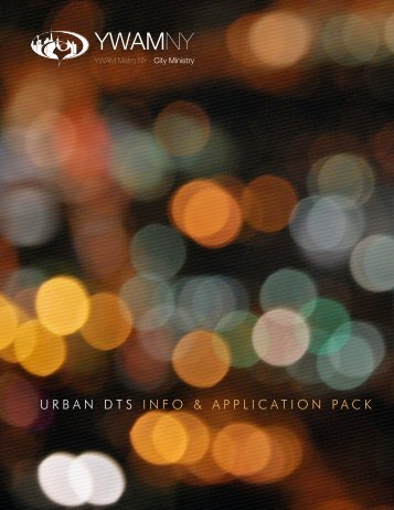 DTS Application Pack - YWAM Metro NY