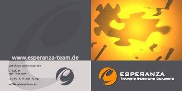 Faltblatt Esperanza - Esperanza, Beratung, Training, Coaching