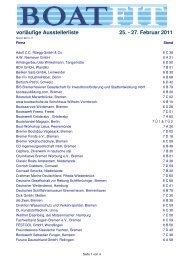 vorläufige Ausstellerliste 25. - 27. Februar 2011 - Boatfit