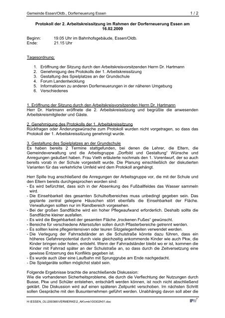 Arbeitskreissitzung vom 16.02.2010 - Essen-Oldb