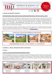 1. Neues von Minkner & Partner 2. Mallorca – Bauen, Wirtschaft ...