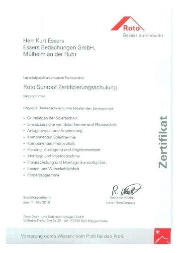 Zertifikat Sunroof downloaden - Essers Bedachungen in Mülheim an ...