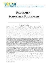 Reglement Schweizer Solarpreis - Solar Agentur Schweiz