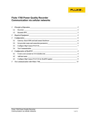 Fluke 1760 Power Quality Recorder Communication via cellular ...