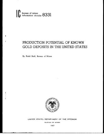 production potential of known gold deposits in the united states