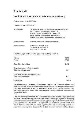GV-Protokoll vom 08.06.2012 - Beinwil am See