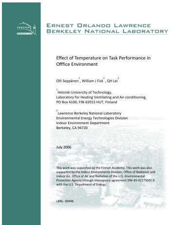 Effect of temperature on task performance in office environment